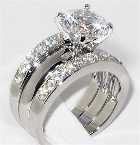 bride  groom diamond rings sets   cz solitaire