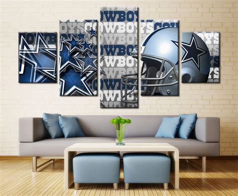 Home Decor Paintings 3 Panel Classic Paris Oil Painting On: Framed DALLAS COWBOYS Football 5 Pcs Painting Canvas Wall