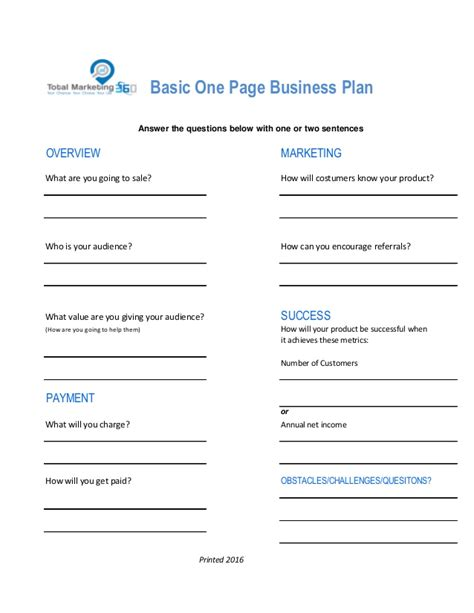 One Page Business Plan Template Total Marketing 360 One Page Business Plan