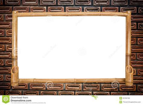 Bamboo Board On Red Brick Wall Background. Stock Photo