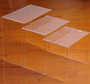 homcom modern acrylic 3pc nesting end table set With acrylic nesting coffee table