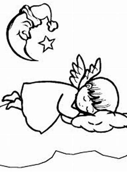 Sleeping Moon Coloring Angels Clipart Crescent Angel