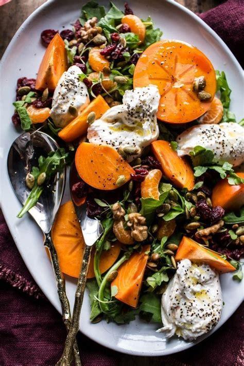 leckere salate rezepte harvest cranberry persimmon and burrata salad rezept