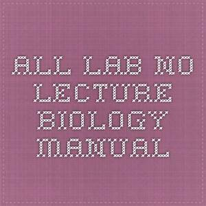 All Lab No Lecture Biology Manual