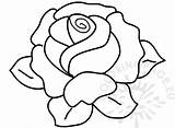 Rose Coloring Flower Leaves Flowers Pink sketch template