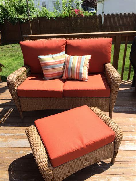 martha stewart charlottetown patio collection love seat ottoman love seat patio furniture