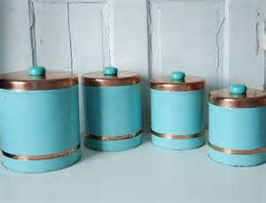 turquoise kitchen canisters vintage 1950s turquoise and copper kitchen canisters
