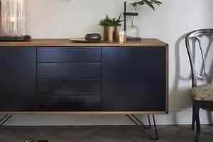 Meuble Bois Et Noir : buffet design en bois et noir pieds en m tal laqu noir ~ Melissatoandfro.com Idées de Décoration