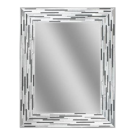 Deco Mirror 30 In L X 24 In W Reeded Charcoal Tiles Wall