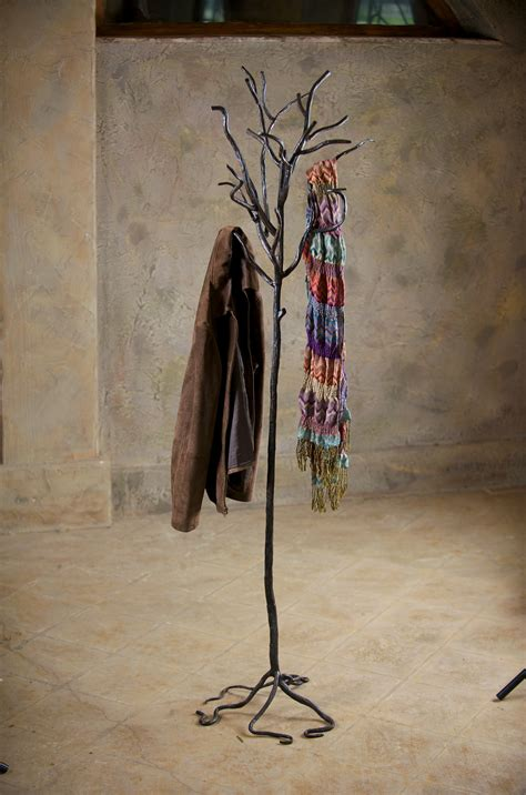 wrought iron twig coat rack  standing