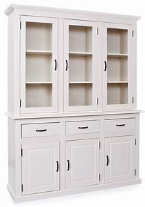 Vaisselier En Pin : vaisselier 6 portes et 3 tiroirs pin massif blanc caly ~ Teatrodelosmanantiales.com Idées de Décoration