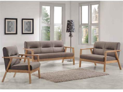 canapé bois design canapés et fauteuil umea en bois et tissu taupe chiné