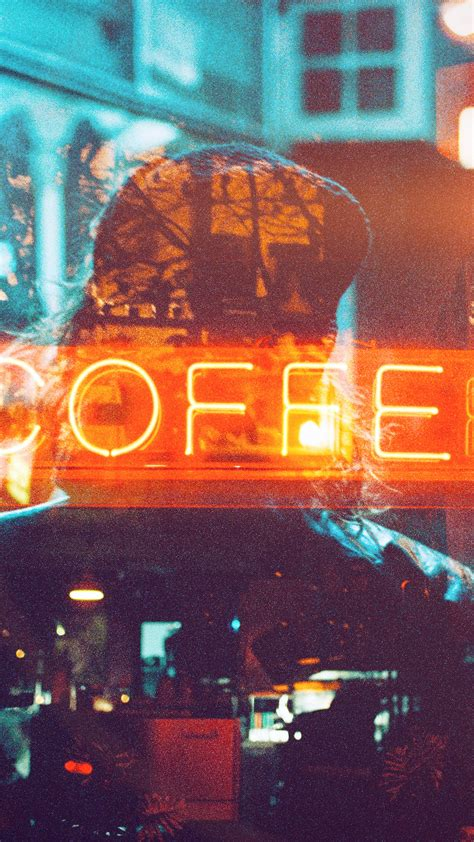 papersco iphone wallpaper az coffee neon sign night