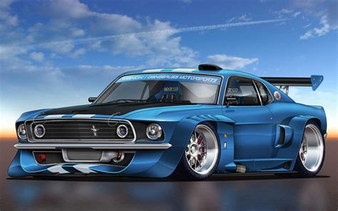Muscle Car Mustang Widescreen Background Wallpaper 4858