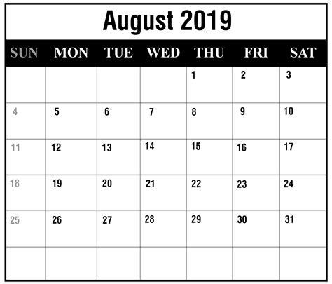 august  printable calendar templates  excel