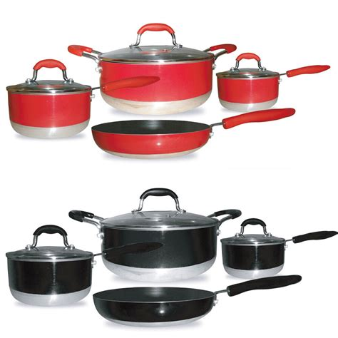 induction cookware chef ready stick non piece gourmet nonstick sets kitchen pans aluminum cooktop cook overstock compatible stainless steel