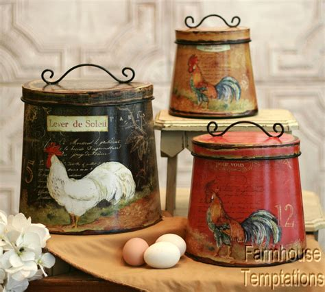 rooster kitchen canisters details about new country shabby cottage chic