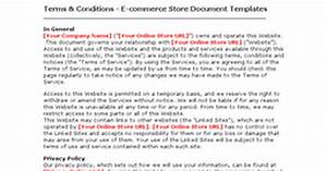 terms condition ecommerce store document templates With terms and conditions template ecommerce