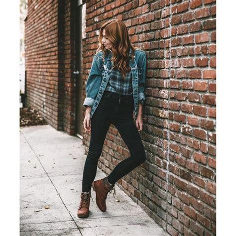 Jeans tumblr denim jacket blue jacket denim black jeans boots brown boots flat boots ...