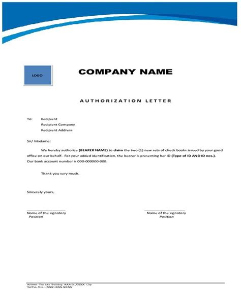 authorization letter collect bank statement cover