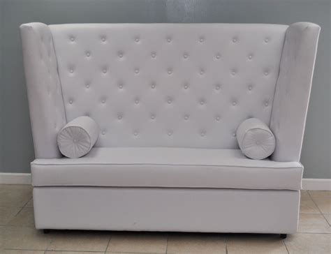 High Back Dining Settee by White Color Vinyl High Back Tufted For 2 Seat With