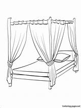 Coloring Bed Pages Canopy Para Bedroom Cama Colorir Drawing Colouring Printable Furniture Dossel Bedtime Getdrawings Desenhos Getcolorings Imprimir sketch template
