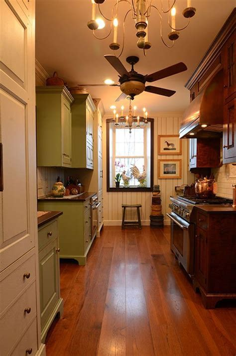 hickory flooring   rustic kitchen