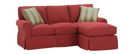 Small Faux Slipcovered Rolled Arm Sectional Sofa W/ Chaise