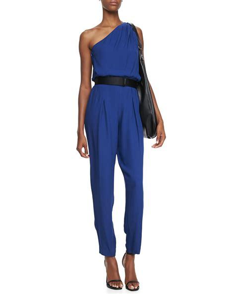 cobalt blue jumpsuit heritage oneshoulder jumpsuit in blue cobalt lyst