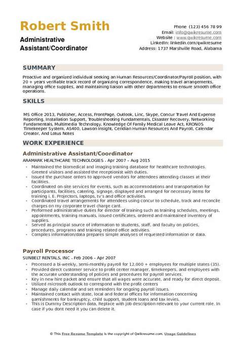 100 office coordinator resume exles assistant travel