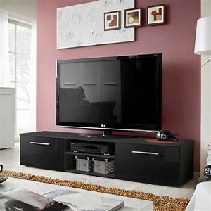 Meuble Tv 180 Cm : meuble tv design bono ii 180cm noir ~ Teatrodelosmanantiales.com Idées de Décoration