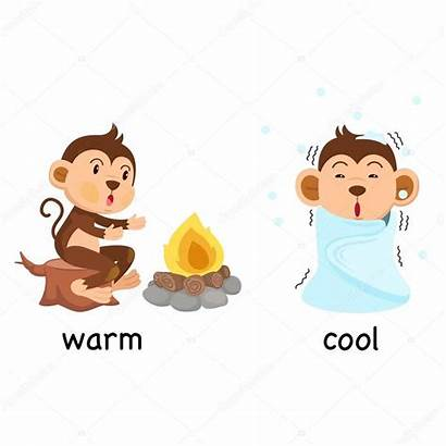 Warm Cool Clipart Opposite Words Antonyms Illustration