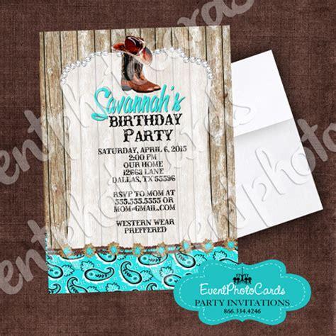aqua rustic western cowgirl quinceanera invitations