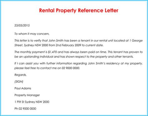 rental reference letter  samples formats