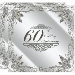 flourish 60th diamond wedding anniversary invite zazzle With diamond wedding invitation cards uk
