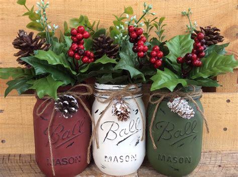 decorated jars for christmas painted mason jars christmas decor vase home decor holiday decor rustic decor christmas