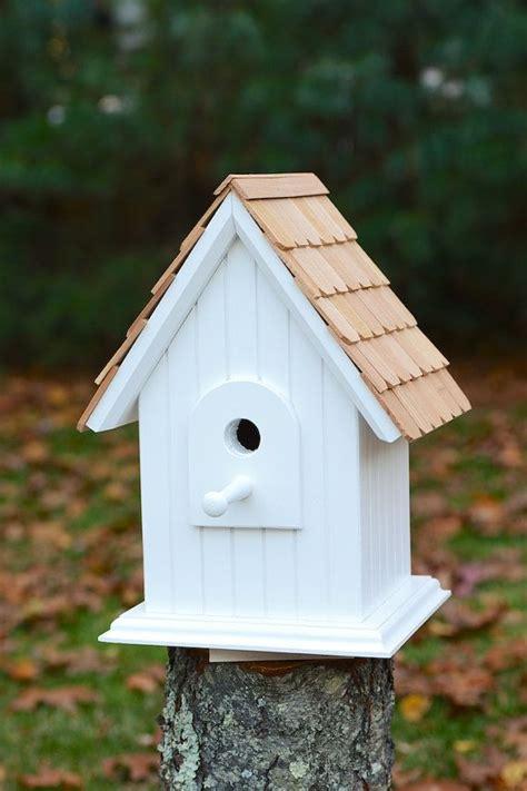 hand crafted solid wood birdhouse  cedar shingles