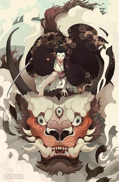 Samurai Dragon Japanese Face Fantasy Paint Katana