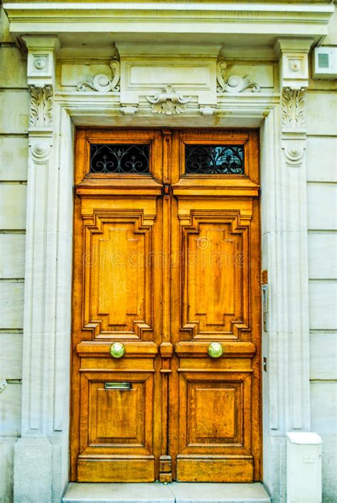 French Building Entrance Beautiful Wood Door In Paris