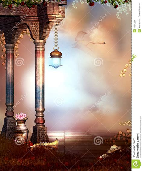 fantasy garden   sky background stock illustration