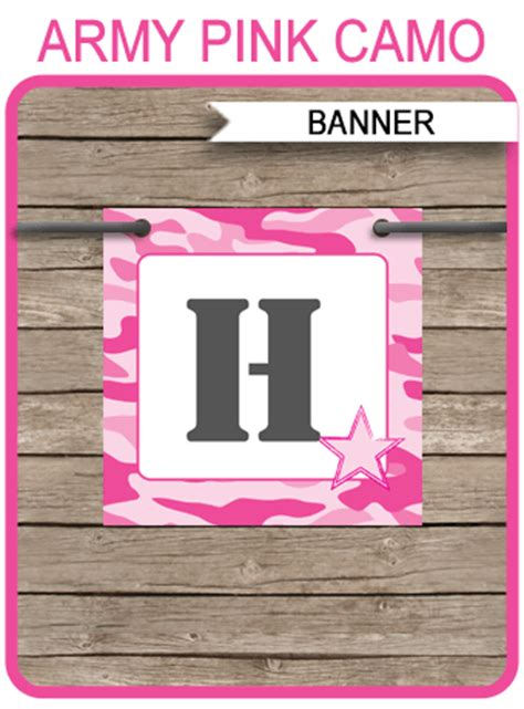 pink camo banner template happy birthday banner