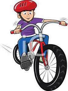 Boy Riding a Bike Wearing a Helmet - Royalty Free Clipart ...