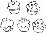 Cupcake Coloring Pages Printable Cupcakes Drawing Cookie Getcolorings Getdrawings sketch template