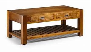 Table Basse Bois Exotique : table basse en bois exotique 2 tiroirs 1 niche collection mawan ~ Dode.kayakingforconservation.com Idées de Décoration
