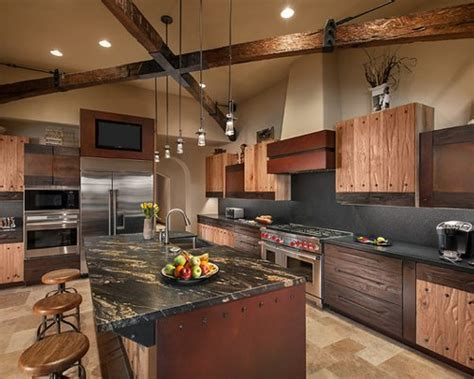 black granite  cream cabinets home design ideas pictures remodel  decor