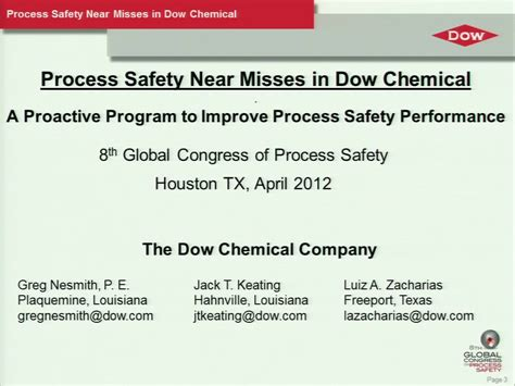 Process Safety near Misses in Dow Chemical: A Proactive ...