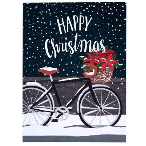 bicycle art christmas tree poinsettia bicycle card merry cards smudge ink smudgeink