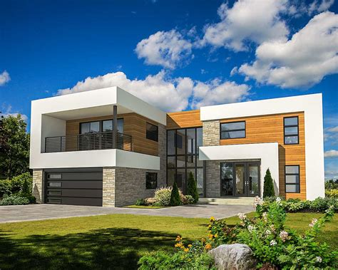 4 bed modern house plan with master deck
