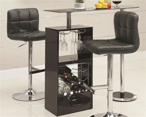skokie small modern bar table with glass top coaster