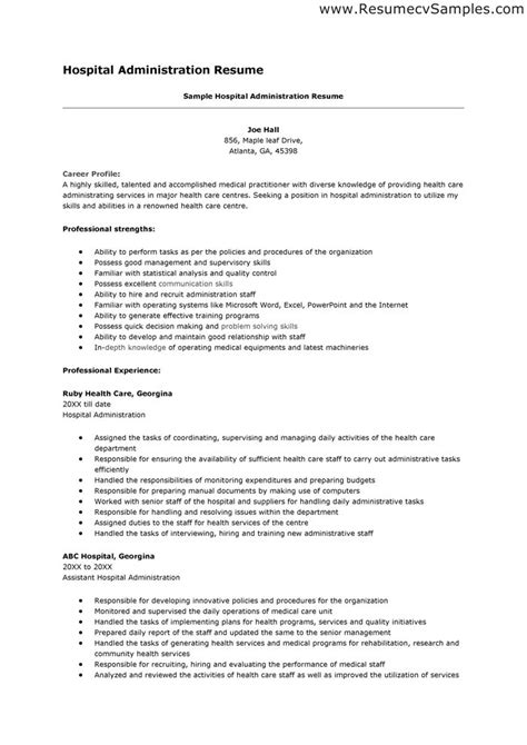 resume exles for hospital resume ixiplay free